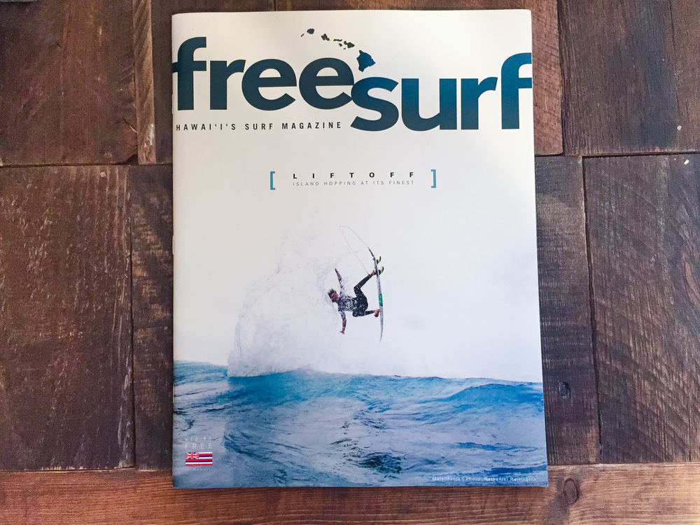My FIRST COVER! Who wouldn't be stoked? I have heard photographers such as Scott Serfas describe a covershot as the holy grail of photography, I would have to agree especially after holding onto my own.  The shot is of Matt Meola taken at Ho'Okipa on Maui, Hawaii. FreeSurf Hawai'i's Surf Mag, Issue #6, Summer 2015.    Cool Story behind this cover. I had owned my first water-housing for about a month before taking this image. I do have an extensive knowledge in photography which helped me get the functions set right away with water photography, but in all reality I was a total newby at shooting in the water when I got this shot. One thing I really had going for me was a determination to shoot this evening. Watching Matt, Kai, and Albee shred so hard definitely made me focus on the task at hand. A cover shot was landed!