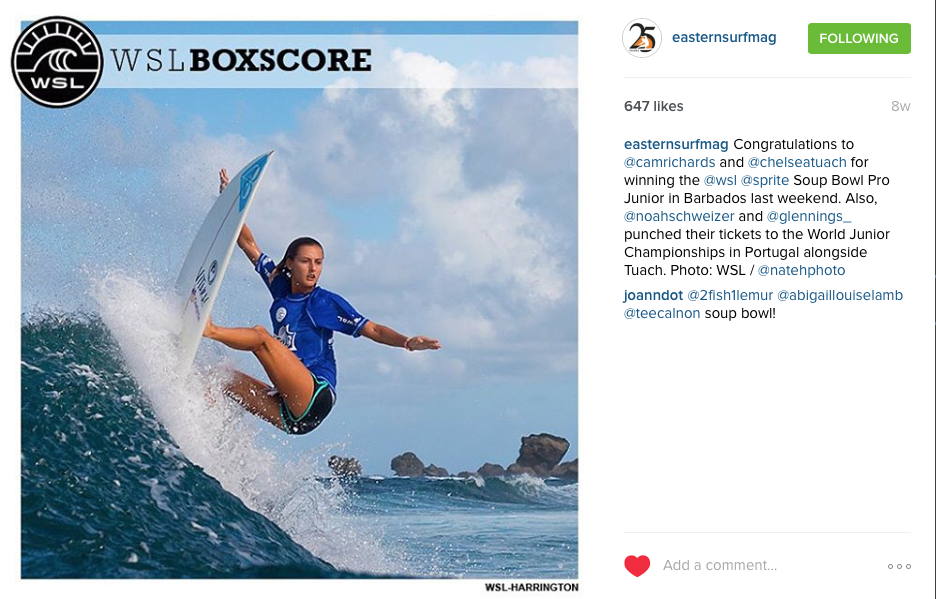 Chelsea Tauch on her victory wave for the 2015 Soup Bowl Pro in Barbados, Caribbean.