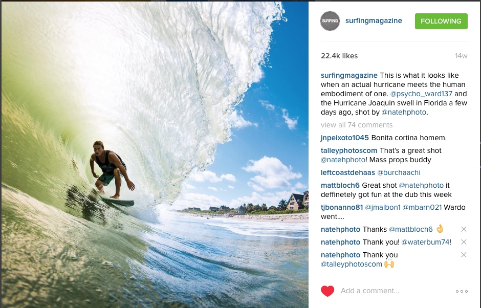 Chris Ward for Surfing Mag's Social Update on Hurricane Joaquin. Fall 2015.