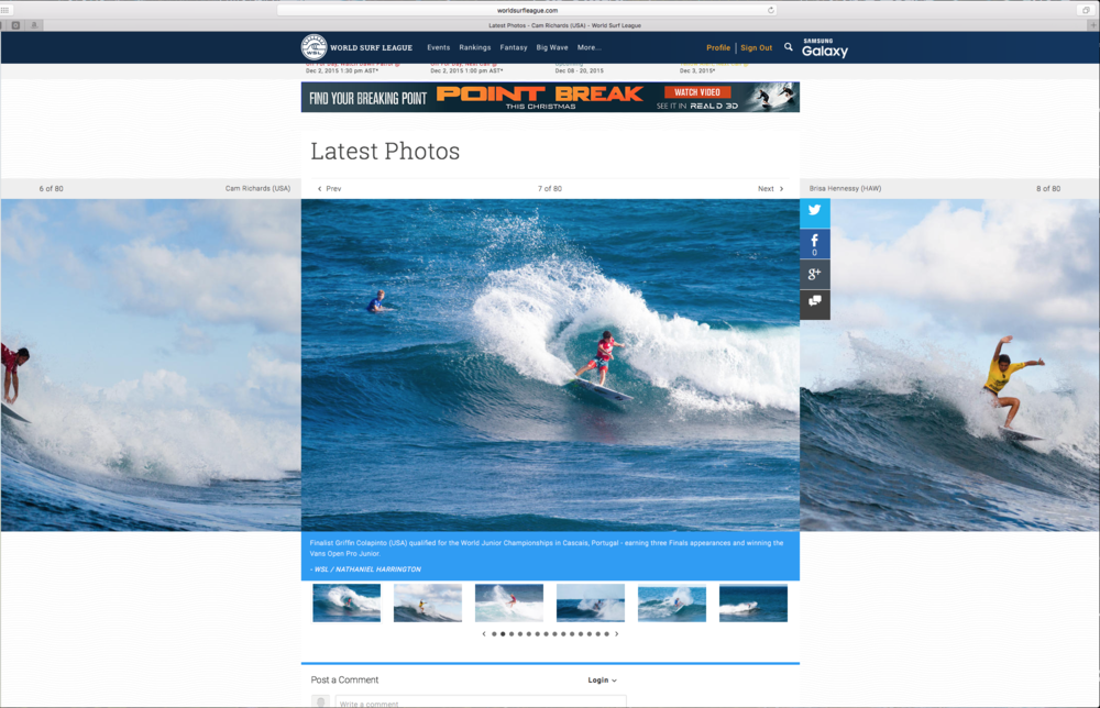 Griffin Colapinto and many many more on the WSL's Website as updates for the Sprite Bowl Pro Jr.