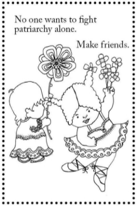 Postcard: image from Girls Are Not Chicks on a high-quality postcard that can be colored in. Great for coloring with colored pencils.