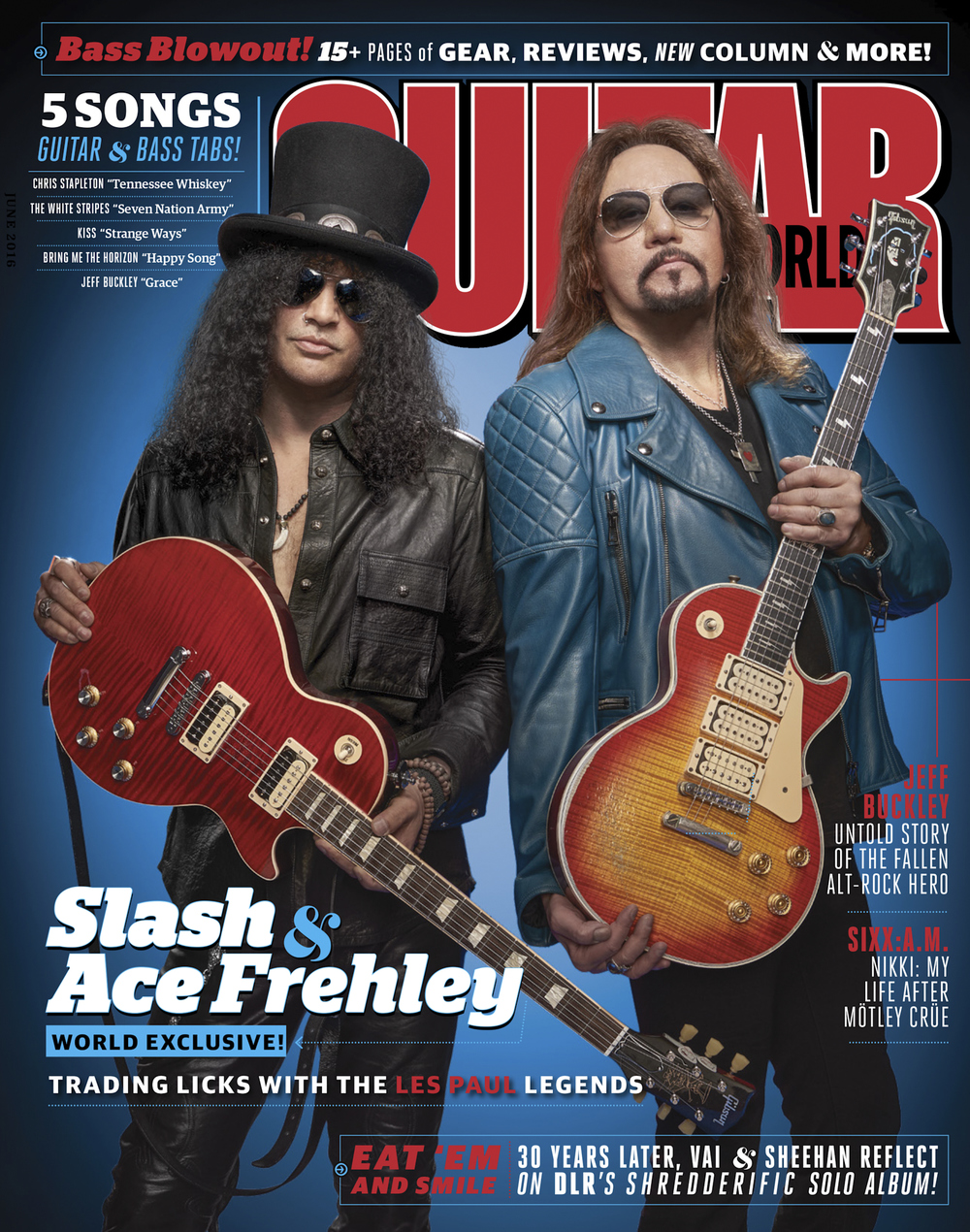 Guitar World, June 2016 featuring Slash and Ace Frehley