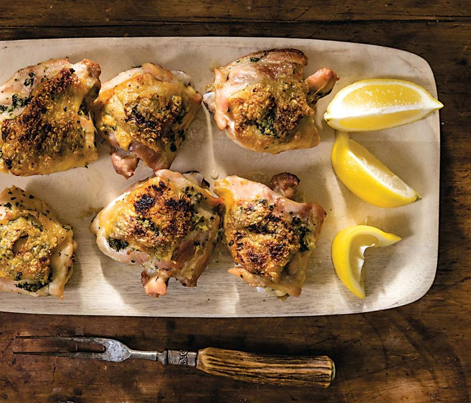 ROASTED CHICKEN THIGHS WITH LEMON, GARLIC, AND HERB