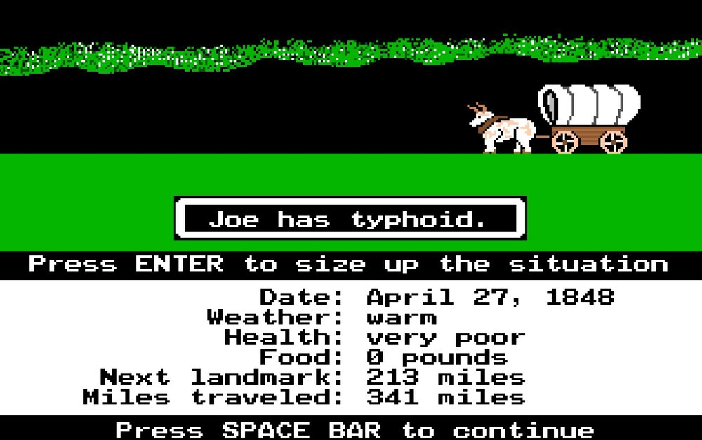 Oregon Trail video game, circa 1971