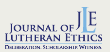 Journal of Lutheran Ethics  (JLE) is a free, bi-monthly online publication living out the Lutheran tradition of addressing social issues theologically, using the resources of historical, theological, and ethical tradition, biblical interpretation, and social sciences.