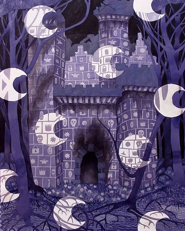 🌚Night Fortress watercolor painting 'I came upon a blackened ruin' 60 x 50 inches, cropped version, #watercolor #watercoloronpaper #fortress #janeeyre
