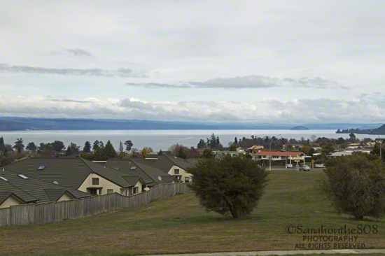 First view of Lake Taupo that's lost its luster beneath a sky of gray.