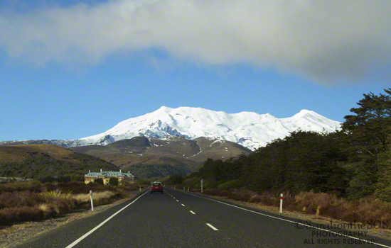 Driving into Whakapapa Village from my overnight accommodations at Discovery Lodge, less than 10 minutes away. Mt. Ruapehu sits in snow-covered silence ahead.