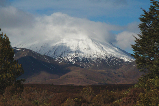 A cloud enshrouded Mt. Ngauruhoe visible from the parking lot.