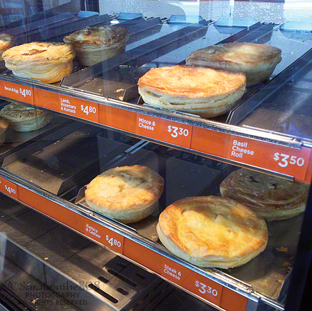 I have to say that New Zealanders certainly have it made. Hot gourmet pies in a gas station convenience store? And they only cost $3.30 to less than $5? Compared to the spam musubi in Hawaii which is smaller and about the same price—well, let me tell you there is no comparison! Bacon & Egg, Thai Chicken Curry, New York Pepper Steak...I can't make up my mind...