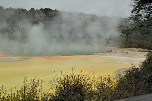 This geothermal feature, Artist's Palette, is a beautiful pale yellow with splashes of orange.