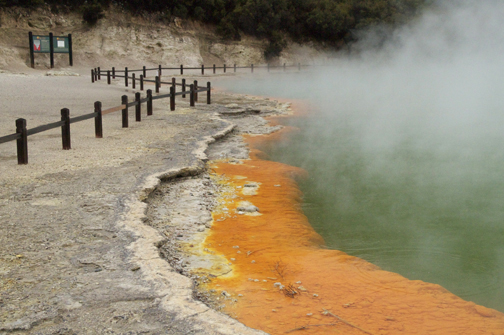 The hot water spring sits in a 700-year-old crater! The gas bubbles are carbon dioxide and the vivid orange portion contains arsenic and sulphur compounds rich in minerals including gold and silver. No mining here.