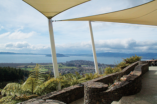 At the top of Mt. Ngongotaha sits the visitor attraction, Skyline Rotorua. From the open-air dining area, the view of Rotorua and Lake Rotorua are so pretty.