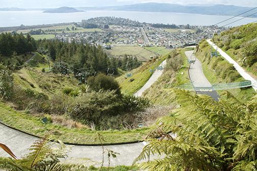 Rotorua far below.