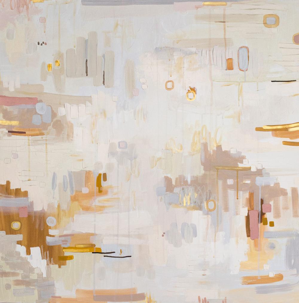 "Farmhouse, Mixed Media on Canvas, 30 x 30"""