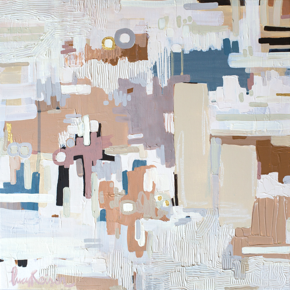 "Manhattan , Mixed Media on Canvas, 18 x 18"""