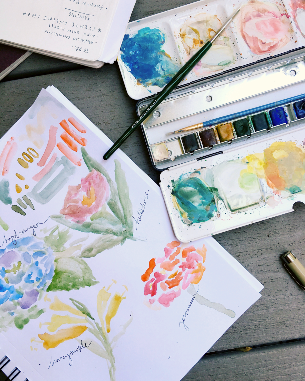 Preliminary watercolor sketches of *los flores* in focus.