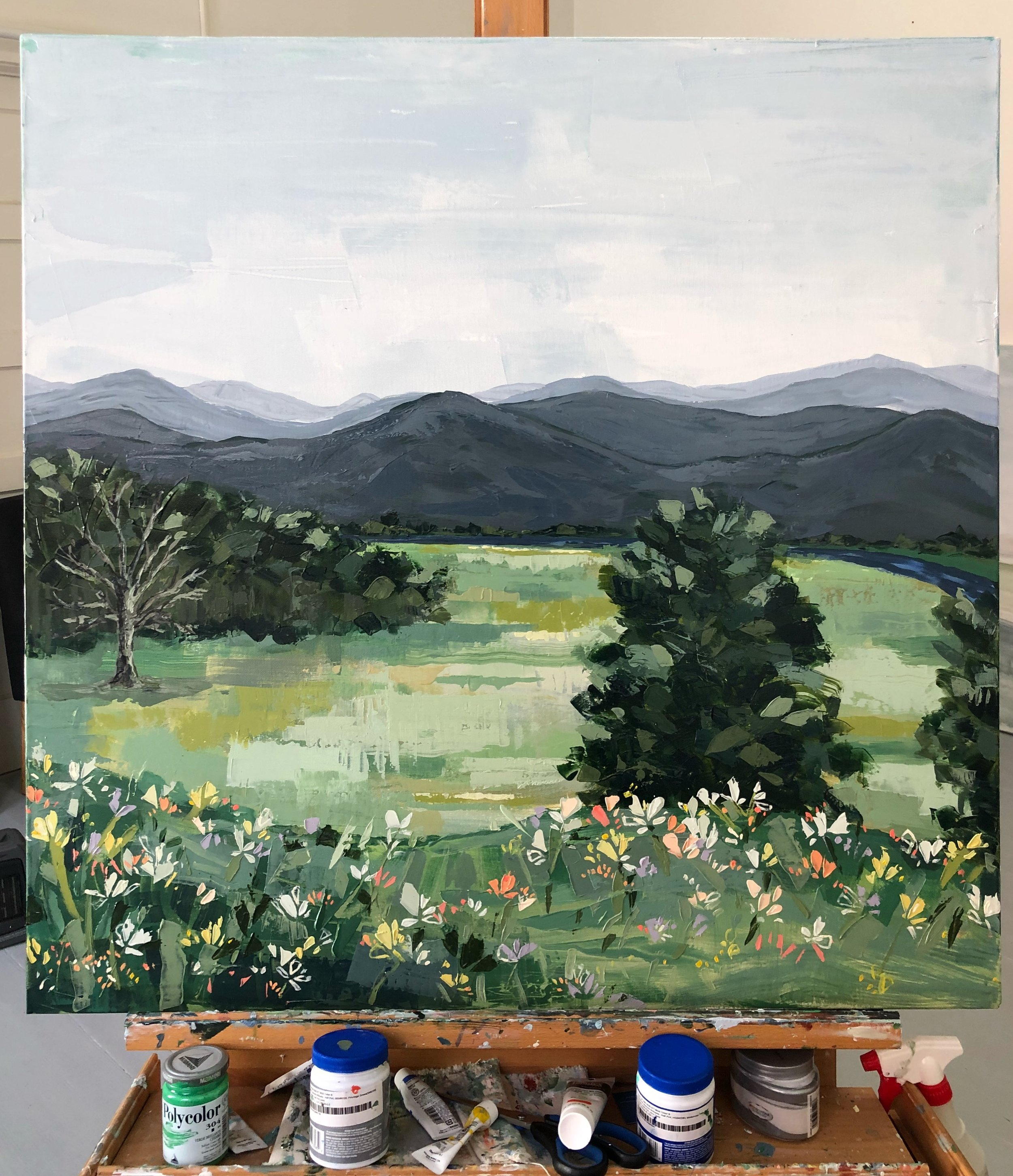 This was one my favorite commissions - I was able to meet and visit with a wonderful family at their farm not far from me in NC, and was commissioned to paint the view from the back porch looking over the farm.