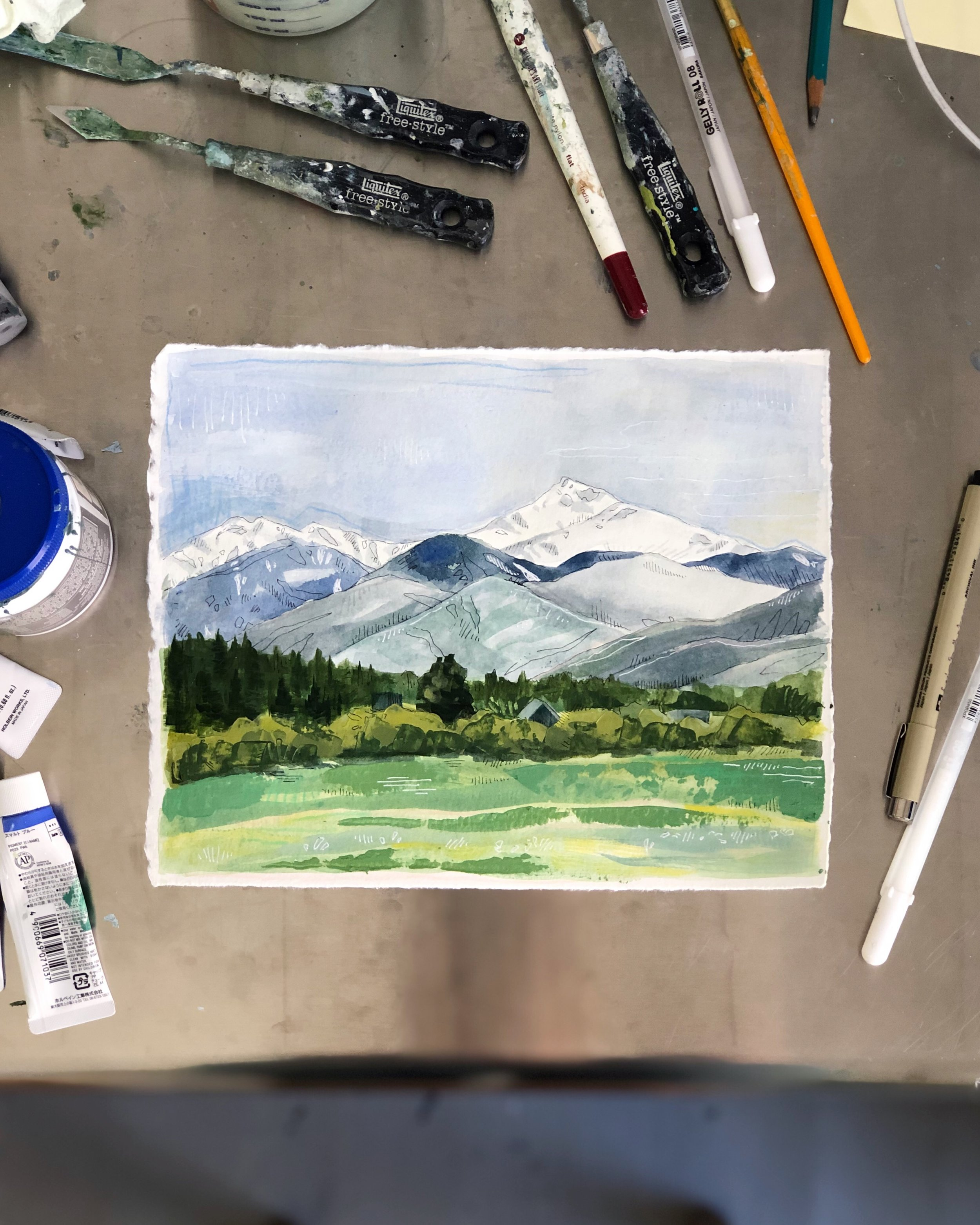 This little mountain painting was commissioned by my dear friend's now-husband as a wedding gift earlier this month.