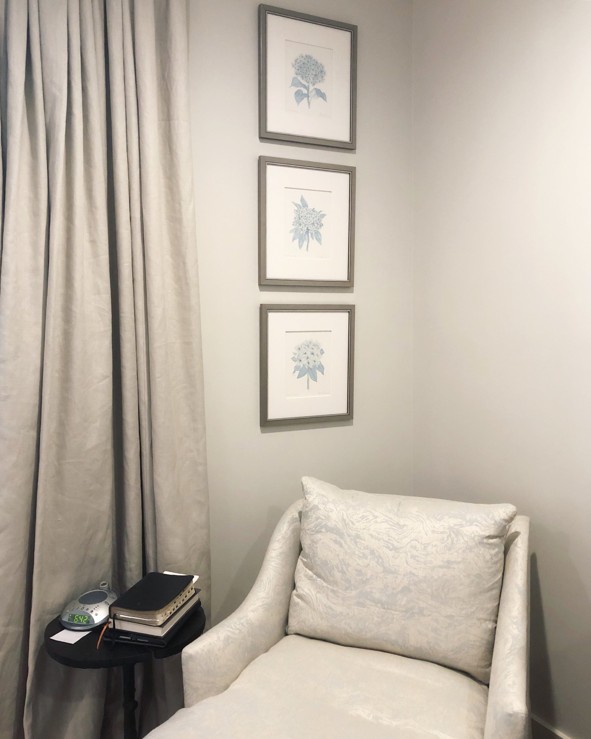 A trio of sky blue botanicals decorating this cozy reading nook in a gorgeous mountain home.