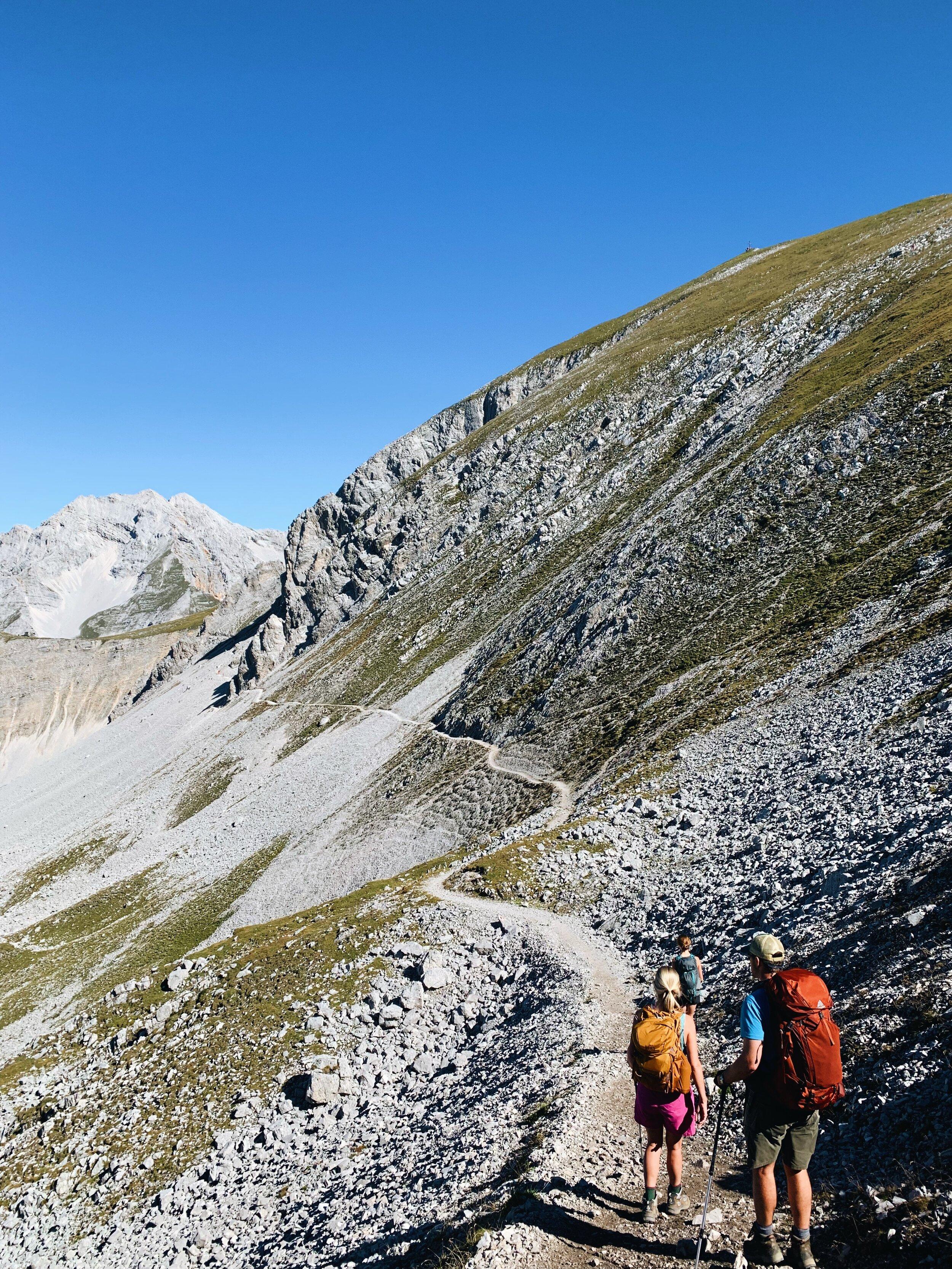 The rocky trek from Innsbruck to Pfeishutte.