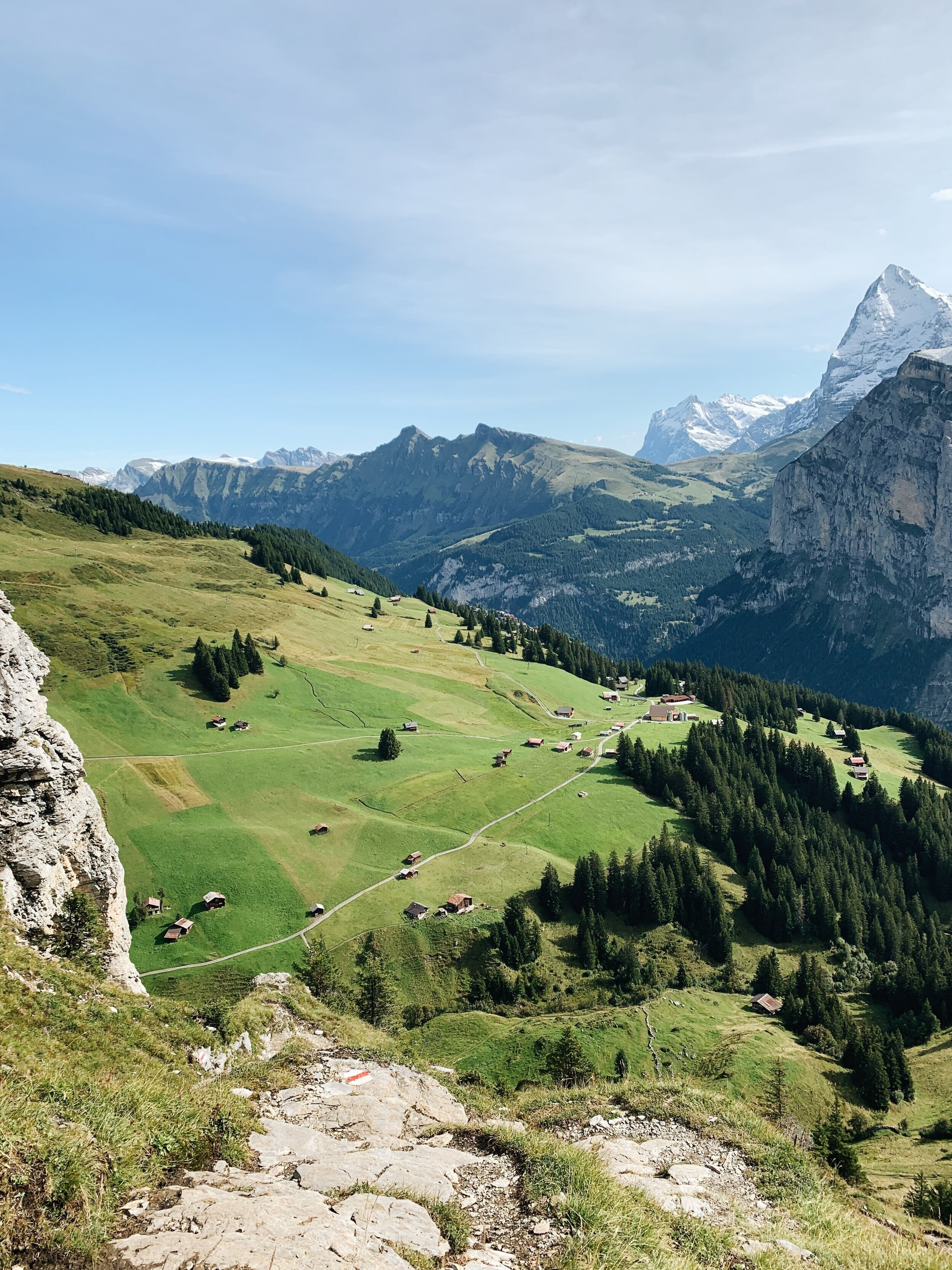 The first day hiking: En route from Murren to Rotstockhutte.