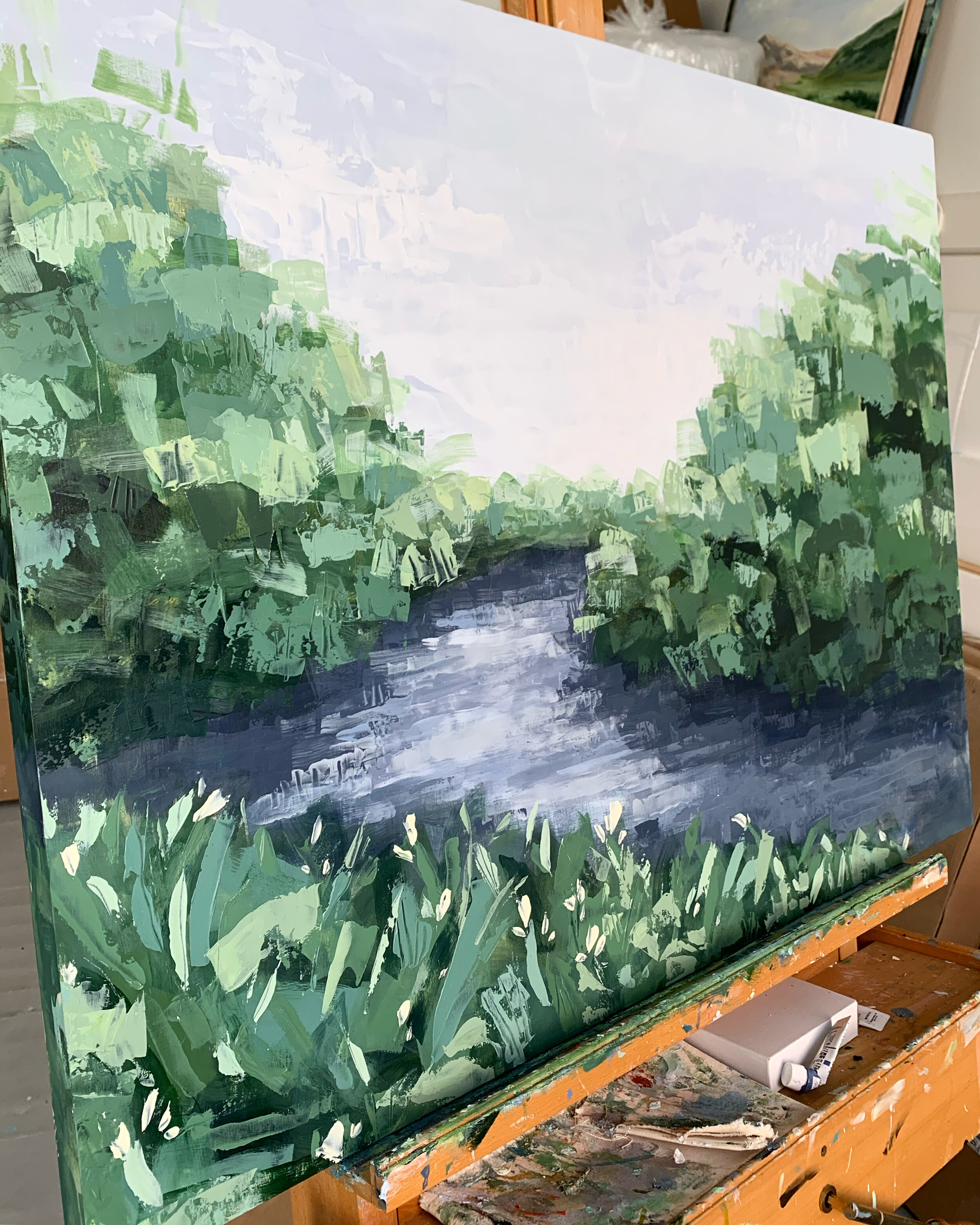 A new river painting ready to head to its new home!
