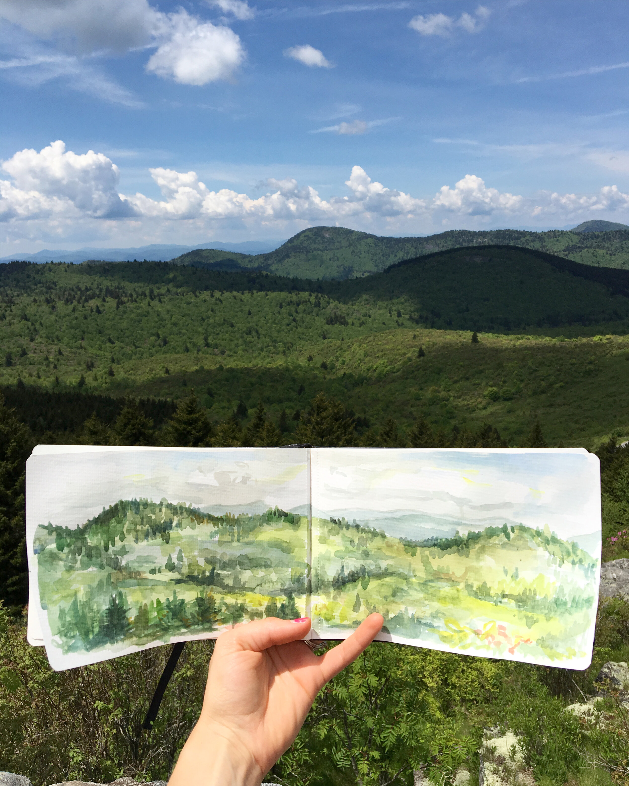 Remembering sunny days on mountaintops and making a goal for myself to use that sketchbook.