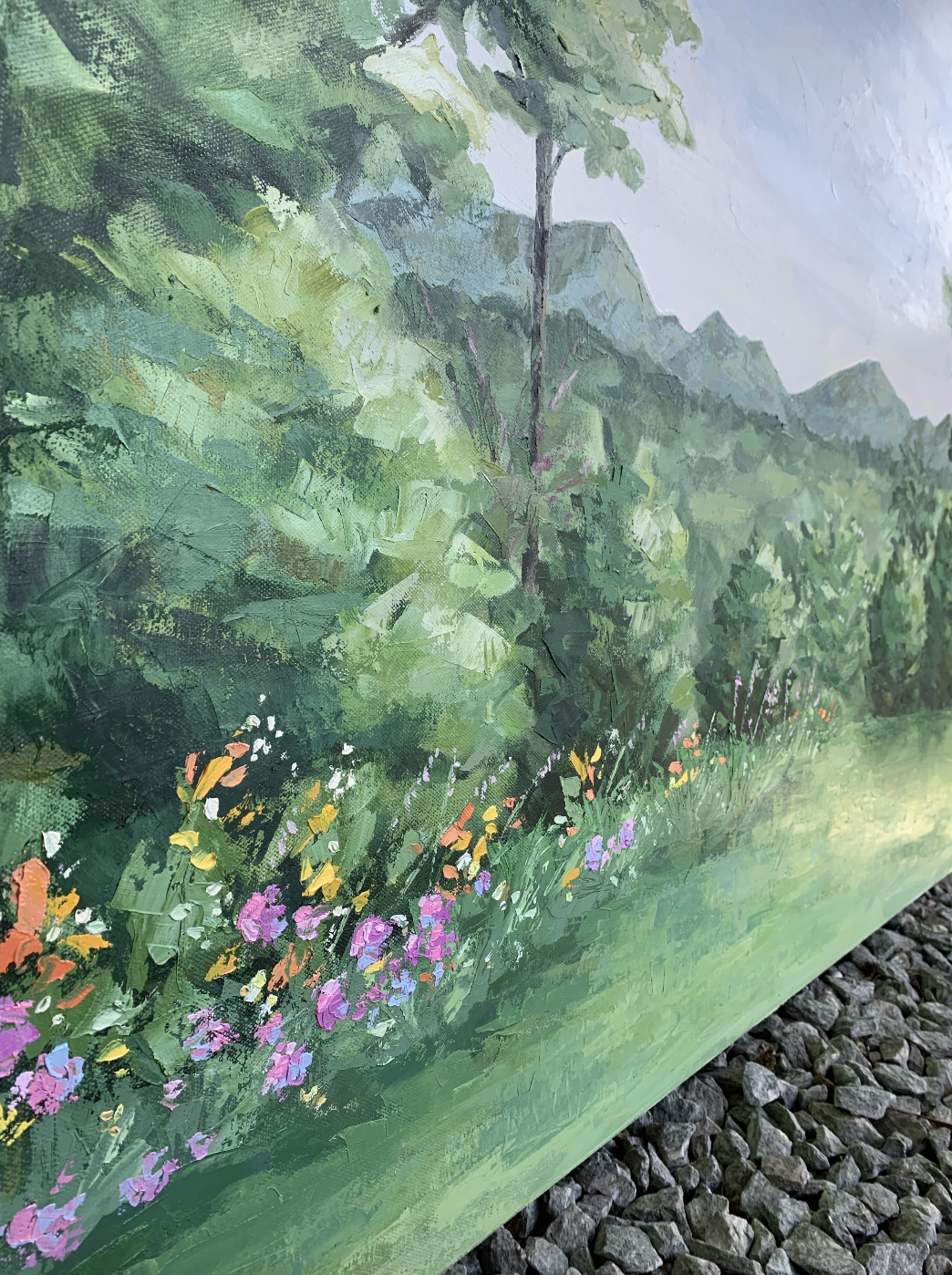 Finishing touches to a landscape commission.