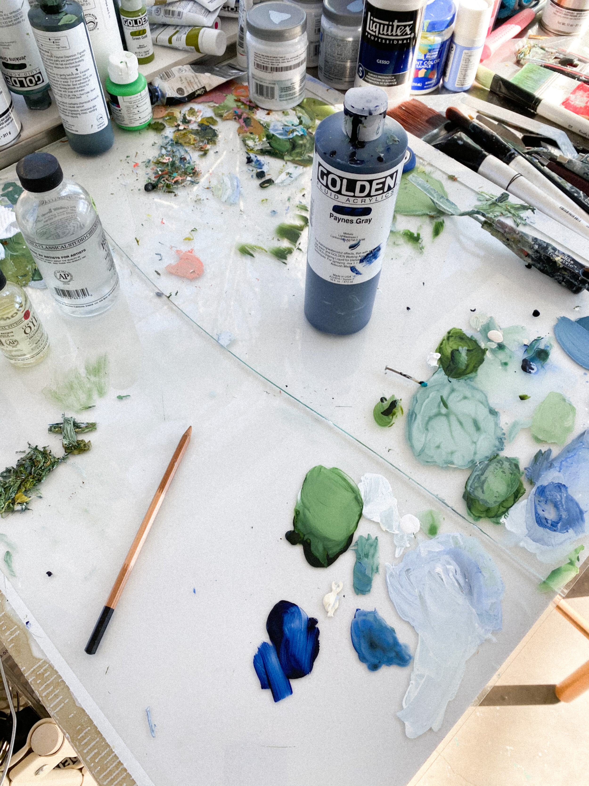 Blues and greens on a cracked palette