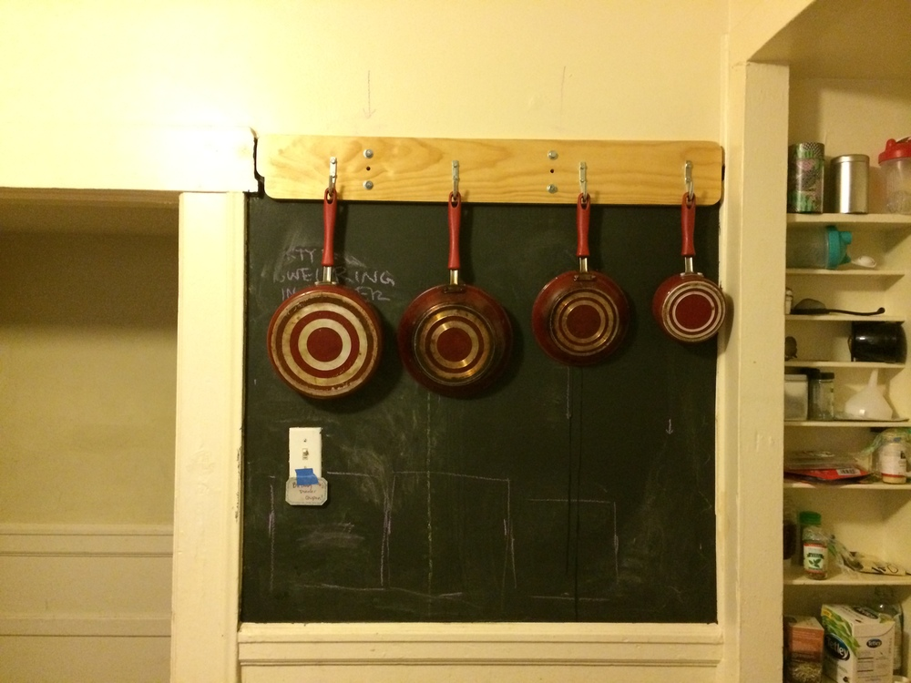 The long overdue pot rack.