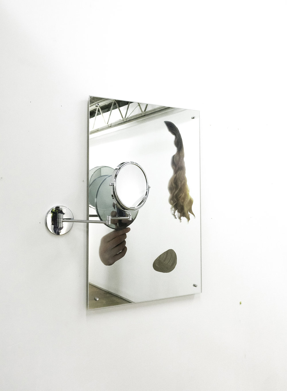 void III     uv print iphone photograph on perspex, bathroom mirror, human hair, adjustable chrome makeup mirror, mdf