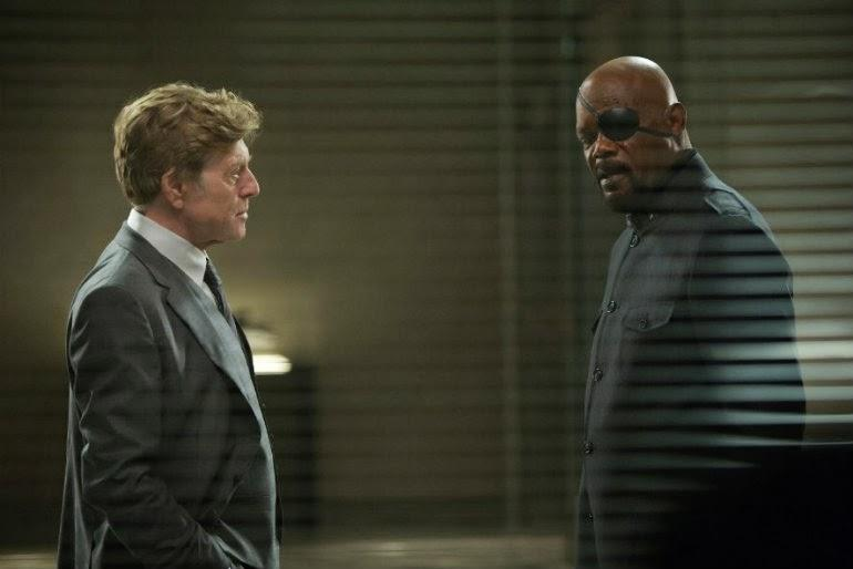 Robert Redford and Samuel L. Jackson in Captain America: The Winter Soldier