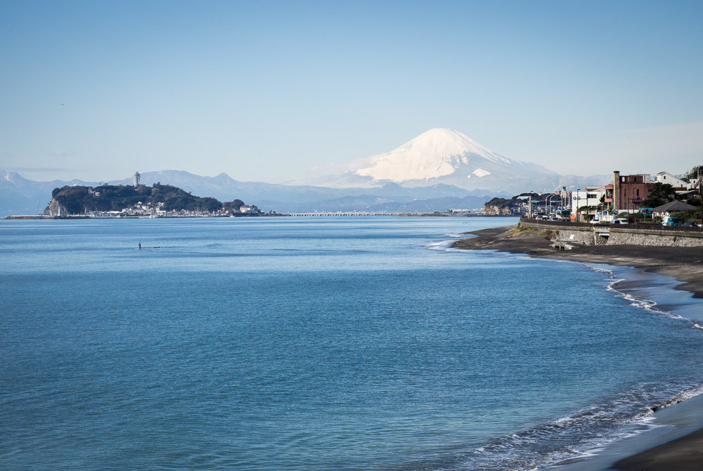 A view of Mt Fuji - freshly snowclad and on a clear autumn day - from Inamuragasaki looking toward Enoshima Island
