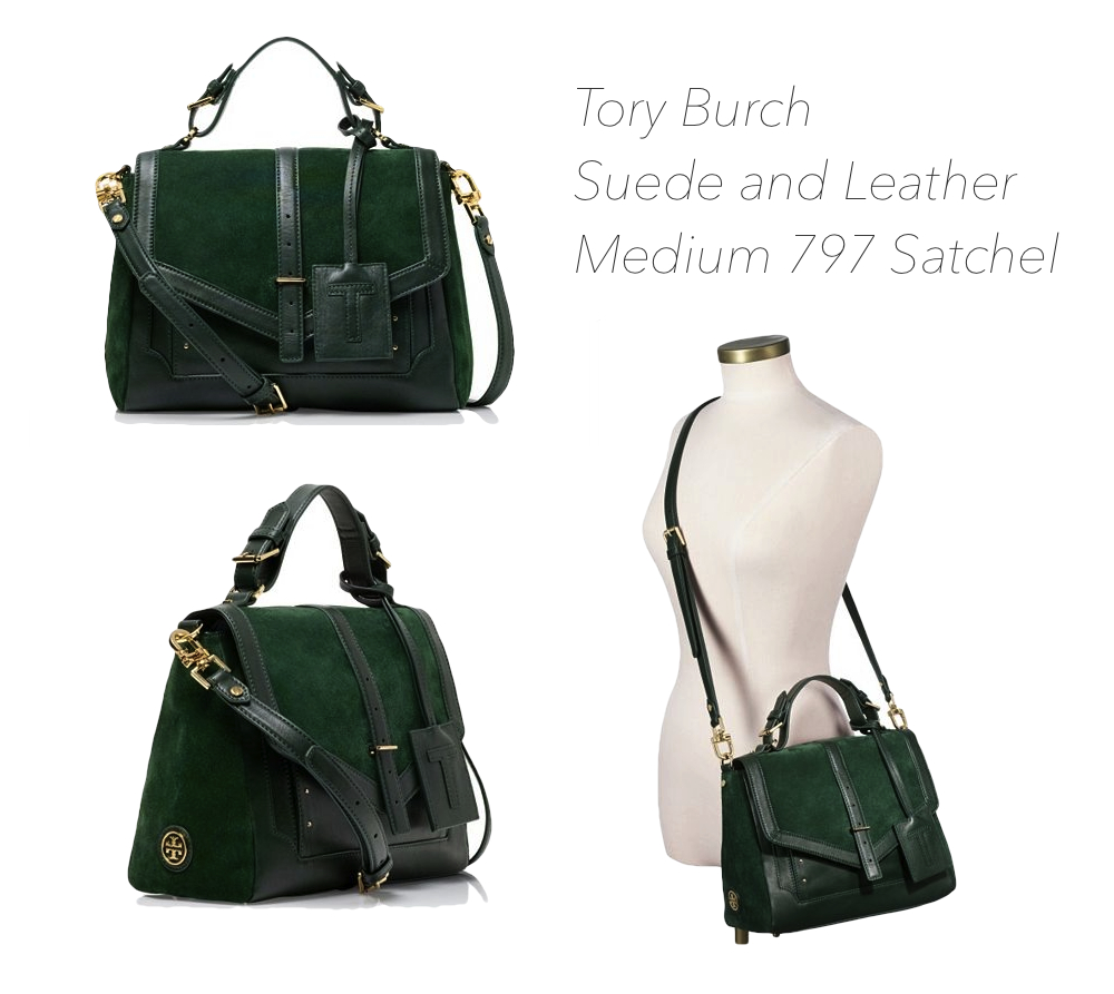 96f3b62bde40 I saw this at Tory Burch Medium 797 Satchel yesterday. It was love at first  sight - I m not kidding! I love the deep forest green color