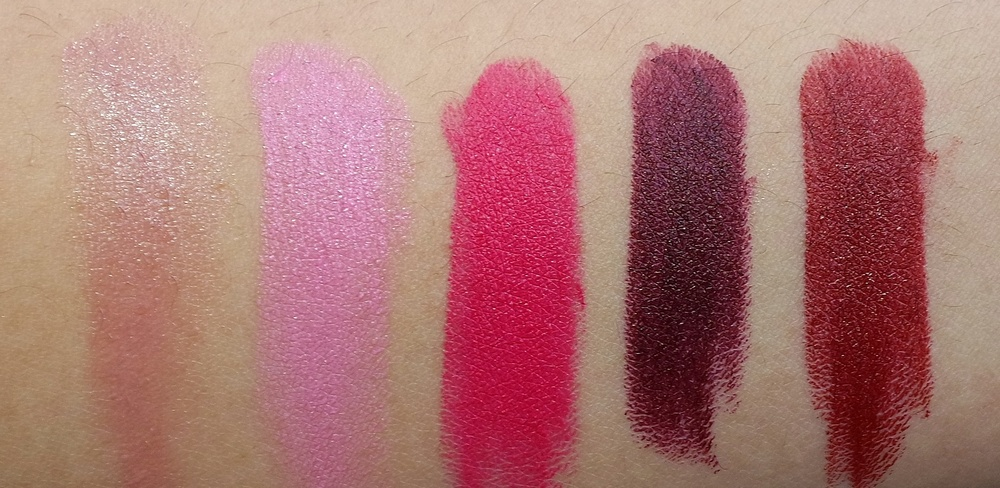 Lipsticks: Myself (soft shimmery nude beige), Yield To Love (mid-tone rose), Good Kisser (mid-tone fuchsia), Lingering Kiss (deep plum red), Hearts Aflame (mid-tone brick red)