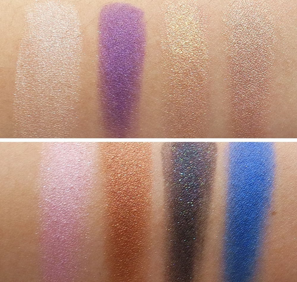 Electric Cool Eye Shadows, TOP: Pure Flash! (pale champagne), Highly Charged (rich purple with pink pearl), Gilded Thrill (gold frost), Superwatt (light shimmering taupe) | BOTTOM: Love Power (soft shimmering rose), Coil (copper bronze), Blacklit (black with multidimensional pearl), Switch To Blue (rich cobalt)
