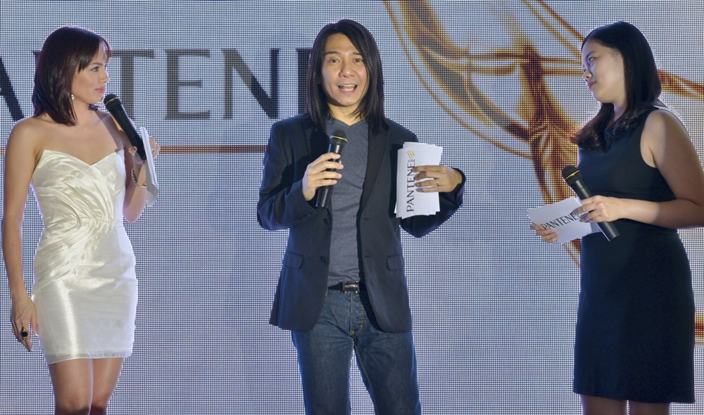 Event host Issa Litton, celebrity hairstylist Alex Carbonell and P&G  Communications Manager Deirdre de Padua talking about Pantene's newest innovations.