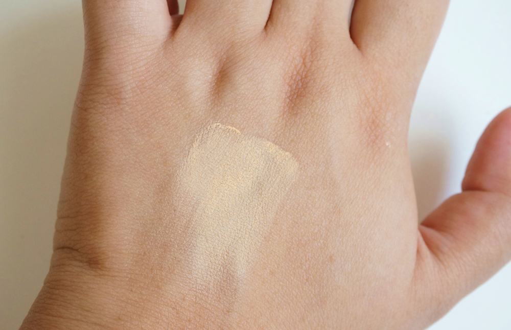 Here's a swatch of shade #2 on my hand, and worn below.