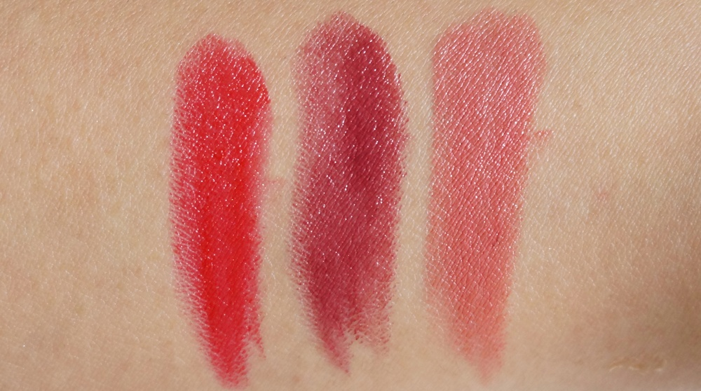 Swatches: Legendary, Fig, and Primrose
