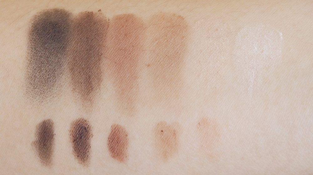 Swatch of the Pixi Brow Powder Palette / Top is a dry swatch, bottom is a wet swatch