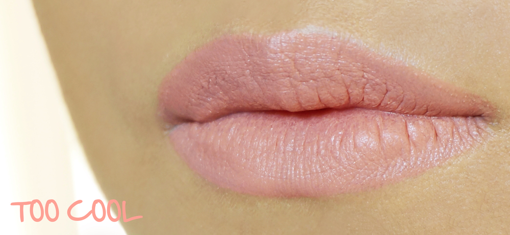 "Too Cool is a ""greige"" shade, much like the Liz Uy Style Icon lippie. It has comparatively less pink and brown, and looks more like concealer. It's opaque. It blanks out lips completely if you're light-medium to morena. If you're fair this would show with a  bit more color. Too Cool is a nice option if you have discolored lips and would like to blank them out before applying light lippies."