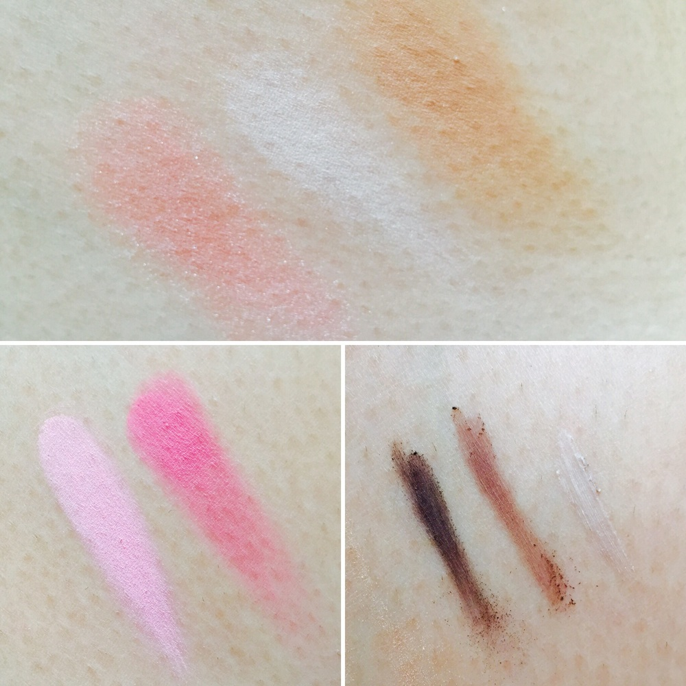 Swatched: Contour Trio in Sweet, Blush Duo in Miss Pink, and Brow Definition Kit in Wow Brown