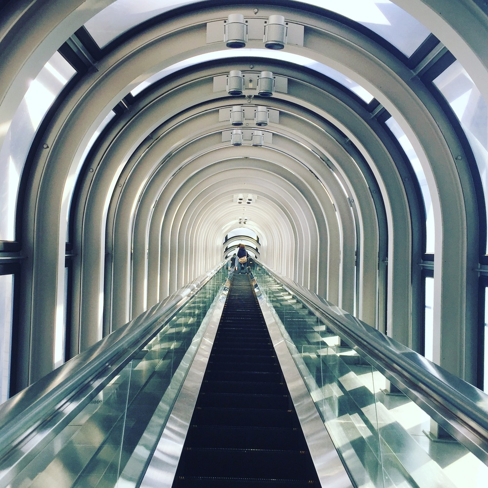 The escalator leading up to the top floor of Umeda Sky Building