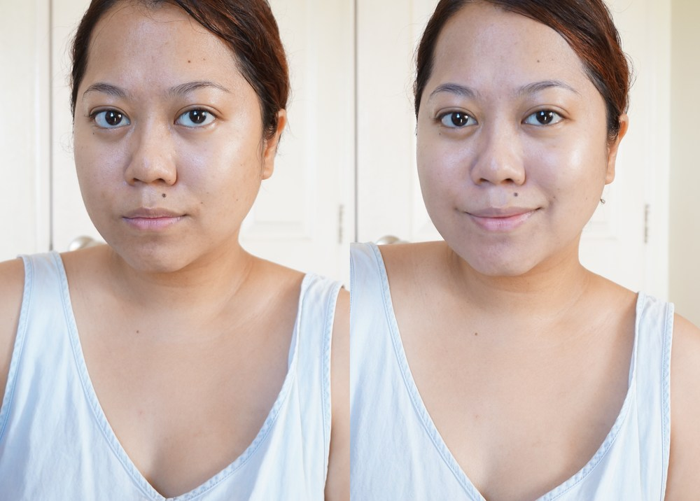 On the left is my totally bare face, on the right I've applied a generous amount of the Pure CC. My face looks half a shade lighter but not overly so, I think. Notice how the area around my lips and chin look more even!