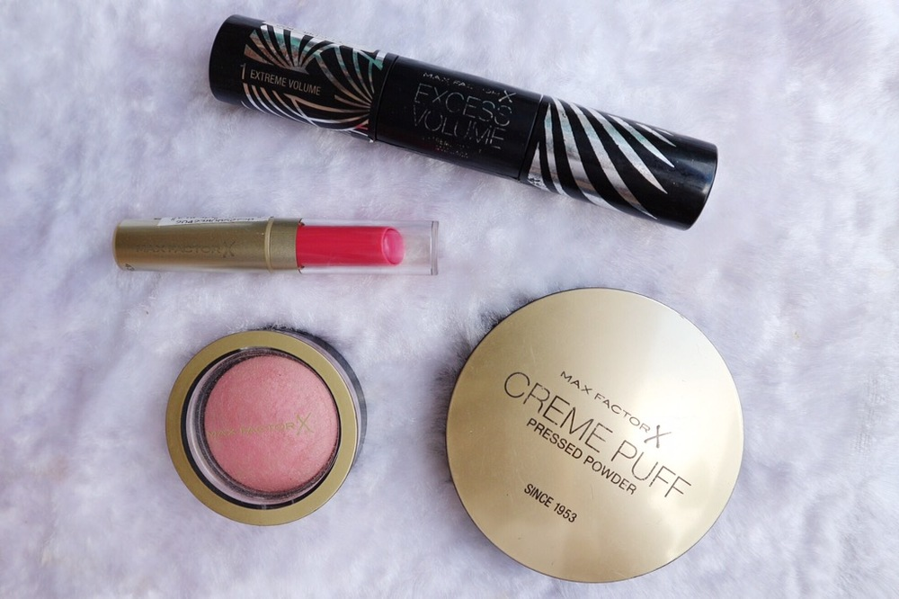 Excess Volume Extreme Impact Mascara, Colour Intensifying Lip Balm, Creme Puff Blush, Creme Puff Pressed Powder