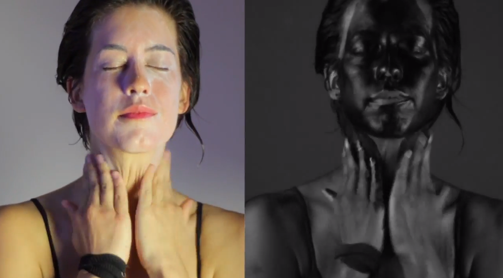 "Screengrab from the ""How the sun sees you"" video shows how sunscreen covers and protects the skin when viewed in ultraviolet light (right)"