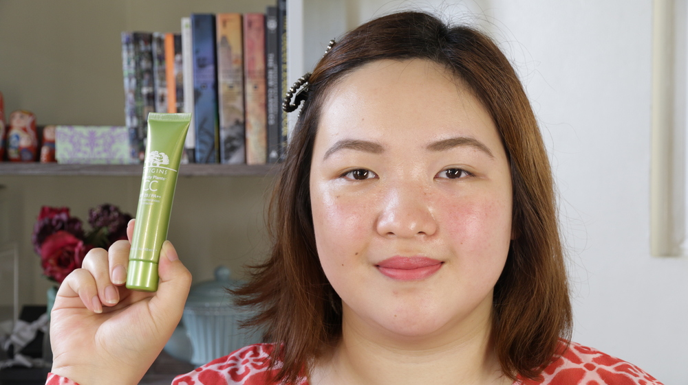 Left side: Wearing Origins Smart Plants CC Cream