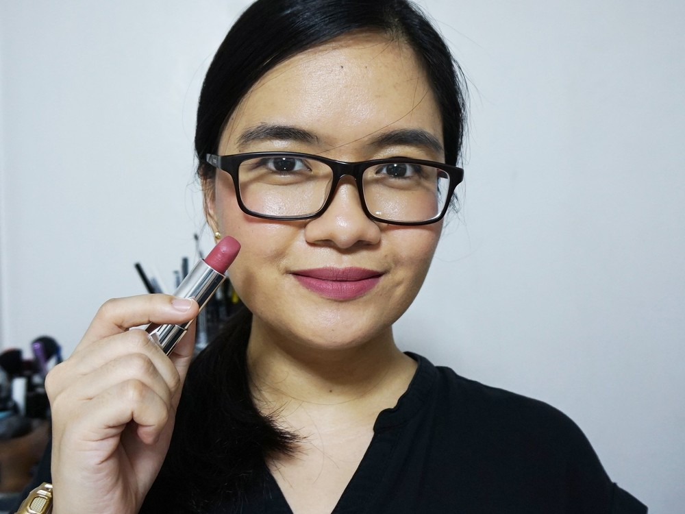 Maybelline Creamy Matte in Touch of Spice on the lips and cheeks