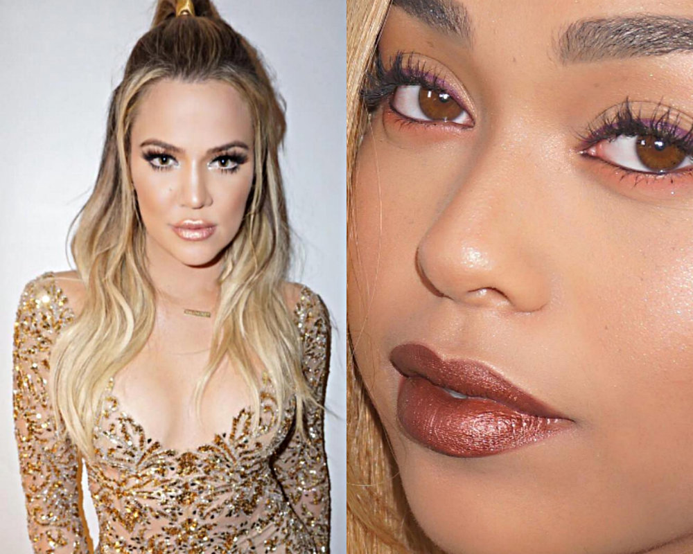 Sister Khloe wears Heir (rose gold) while BFF Jordyn Woods sports Reign (bronze). Images via Instagram/@kyliecosmetics